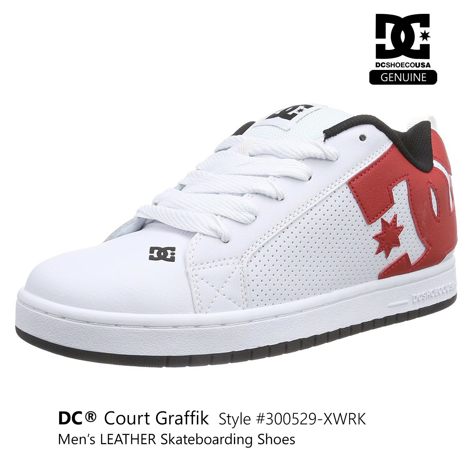 DC Court  Graffik Men's S  shoes S boarding White with Red Logo 300529-XWRK  on sale 70% off