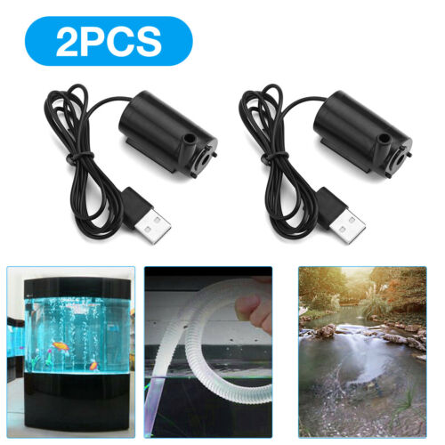2PCS USB 5V 1.0A Mute Small Water Pump Mini Submersible Pump Tools for Garden US