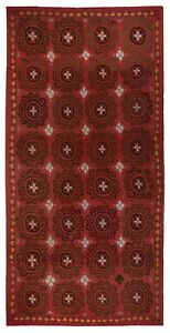 6.5x12.3 Ft Central Asian Suzani Textile. Embroidered Cotton & Silk Bed Cover