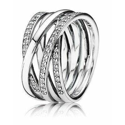 Pandora Ring Entwined, Clear Cubic Zirconia, Size 54 Authentic - 190919CZ-54