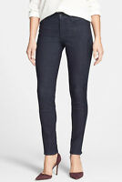 Nydj 'isadora' Leather Panel Stretch Skinny Jeans Leggings M10h90ix Denim Blue 6
