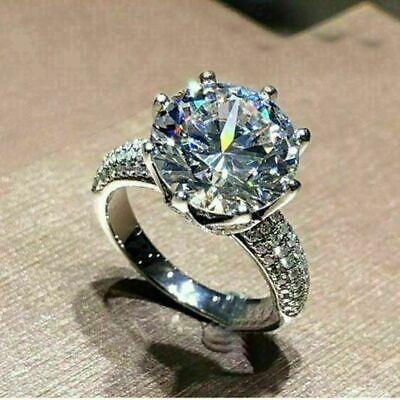 18K White Gold Over 3.23 Ct Near White Round Cut Moissanite Engagement Ring