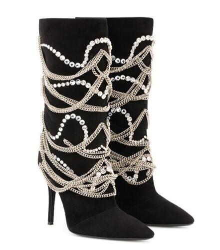 NEW BLACK Boots Womens Mid Calf Boots Stiletto Heel Ponty toe Rhinestone Shoes
