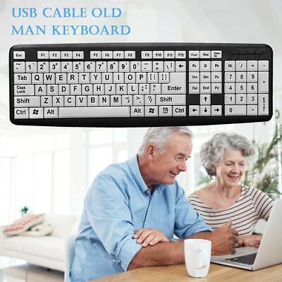 USB Wired PC Gaming Keyboard Large Print White Keys Black Letter for Elderly Men