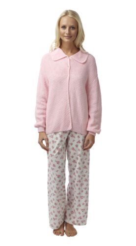 Ladies Knitted Long Sleeve Pink Button Up Bed Jacket Sizes 12-14 /& 20-22.