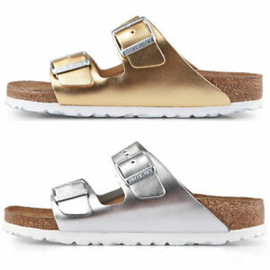 Image is loading Birkenstock-Arizona-Leather-Liquid-Gold-Silver -Soft-Footbed- 4232e629cfd