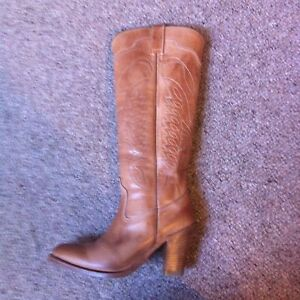 R-Soles-Sendra-Pull-On-Campus-Boots-Tan-UK-4-100-Leather-vintage-Boho-western
