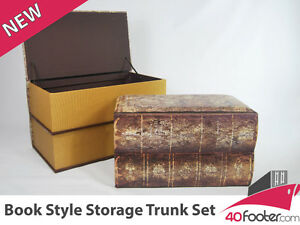 Brand-NEW-Antique-Look-Book-Style-Blanket-Box-Trunk-Chest-Set