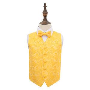 DQT-Woven-Floral-Paisley-Gold-Boys-Wedding-Waistcoat-amp-Bow-Tie-Set