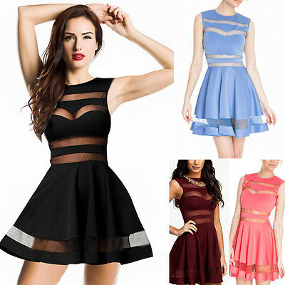 Womens Sexy Club Mesh Insert Bodycon Short Dress Transparent Panel Flared Skater