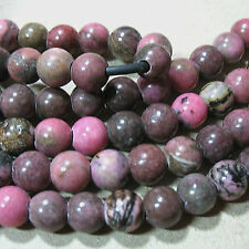 """Pink Rhodonite 8mm Round 2mm Large Hole Beads 8"""" Leather Wire Wrap"""