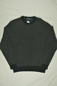 SZ-2XL-Men-039-s-Polo-Ralph-Lauren-Cotton-Crew-Neck-Sweater-Charcoal-Gray-Purple