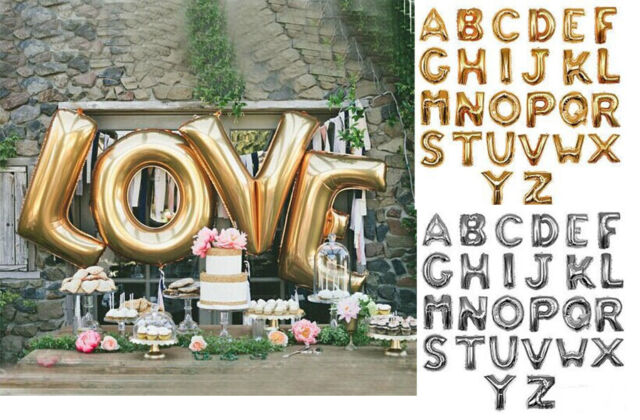 "40"" 85cm Foil Letters Gold/Silver Balloons Wedding Birthday Party Decoration A-Z"