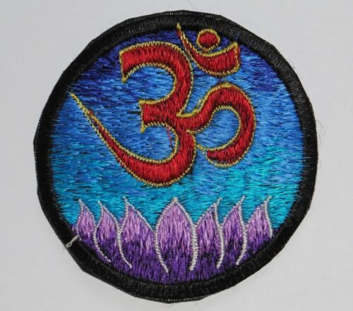 8.5cm Om Lotus * Round Sew On Patch Nepalese Made Blue