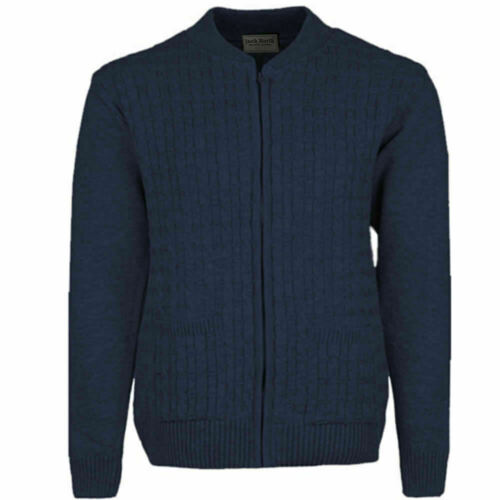 Homme Zip Complet Cardigan Chaud Pull Tricot Uni Câble Cardi Pull 2 poches