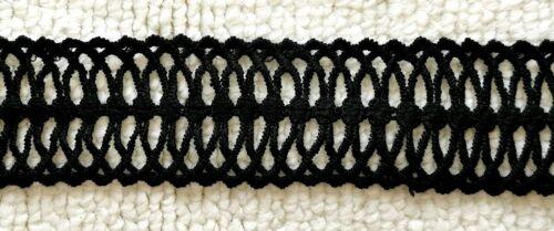 Blonda a mano Negro Crochet Trim 4CM/'S Ancho Aprox. se vende por metro