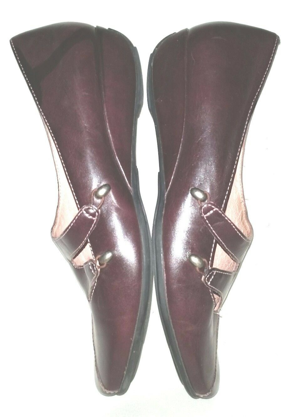 Fantastic Wine Heel CLARKS ARTISAN Size 9M Slip-On Low Wedge Heel Wine Shoes Leather Uppr 2c960f
