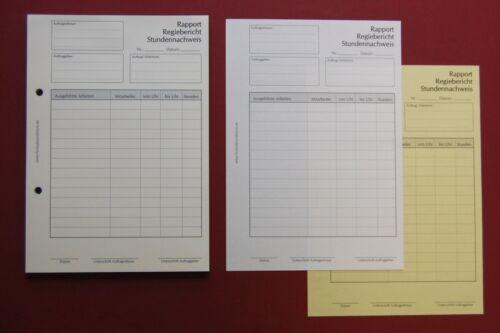 DIN A5 Stundennachweis 2x50 Blatt,SD,Regiebericht,Rapport,Zeiterfassung,NEU