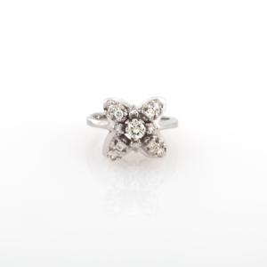 Estate-14K-White-Gold-Floral-Diamond-Ladies-Ring-0-50-TW-Round-Diamonds-Size-4-5