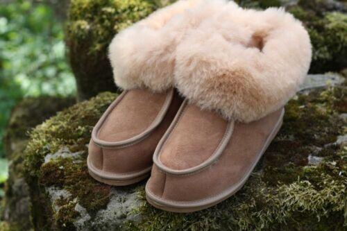 Señora cordero zapatillas de casa adam marrón//crema reprogramación cuero genuino pelaje Merino