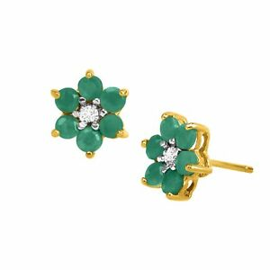 1 ct natural emerald flower earrings with diamonds 18k gold plated image is loading 1 ct natural emerald flower earrings with diamonds mightylinksfo