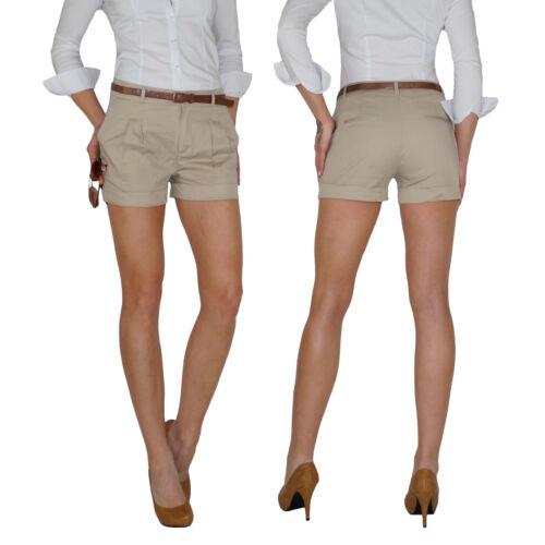Damen Chino Shorts Hot Pants Sommer Hose Bermuda Safari Bundfalten Jeans E69