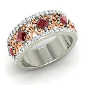1.31 Ct Princess Cut Diamond Engagement Ruby 14K White Gold Finish Eternity Band