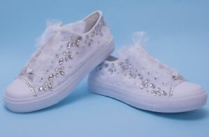 Image Is Loading White Wedding Sneakers For Bride Bridal Trainers With