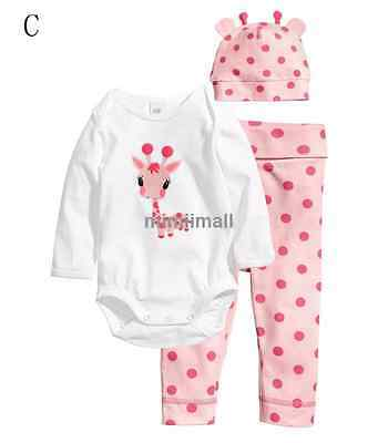 3pcs Kid Baby Boy Girl Newborn Bodysuit+Pants+Hat Cotton Clothes Sets 19patterns