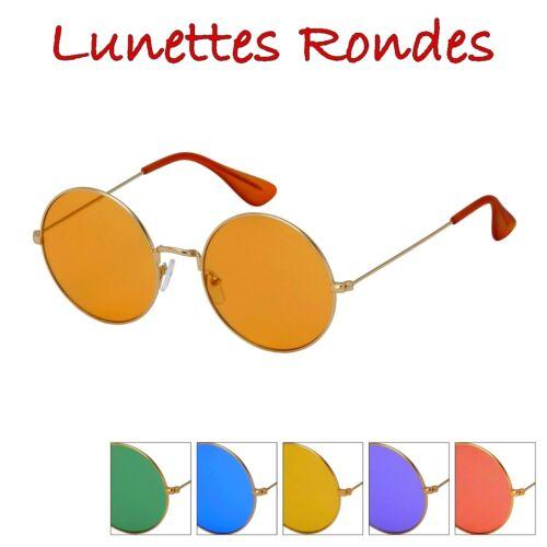 LUNETTES SOLEIL Femme Homme RONDES ROUND Colorful Vintage Old School FINE Plats