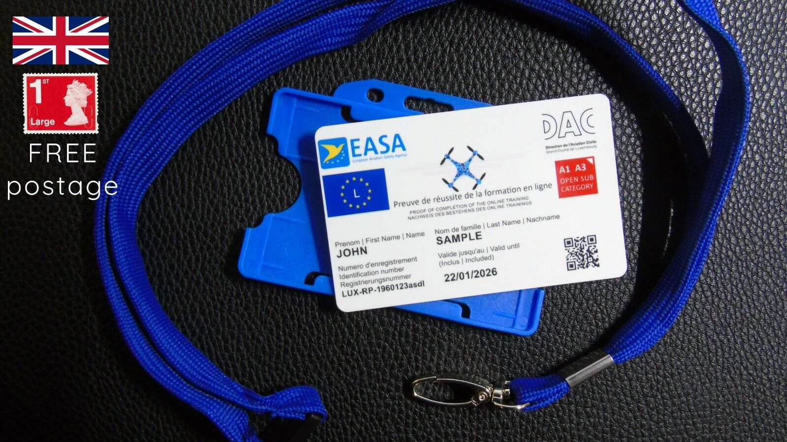 LUXEMBOURG Drone Regulatory ID card for EASA A1/A3 category holders with lanyard