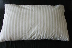 Antique-French-1920-039-s-Feather-Filled-Herringbone-Striped-Cream-Taupe-Cushion
