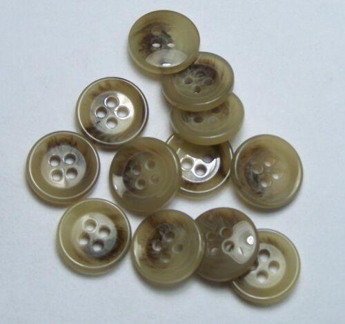 10pc 15mm Sand Dollar Beige Mock Horn Cardigan Jacket Trouser Skirt Button 0101