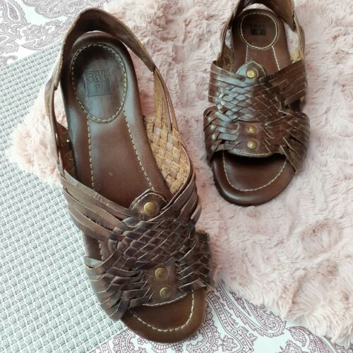 Frye Jacey Huarache Woven Leather Sandals Flats Sl