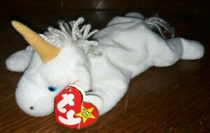 TY Mystic Beanie Baby Brown Horn with white yarn mane, errors!! TAGS 1993 P.V.C.