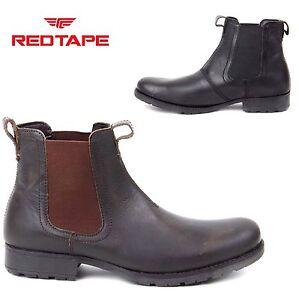 Para-hombres-Cuero-Chelsea-Estilo-Tobillo-de-cinta-roja-Distribuidor-Botas-Zapatos-Informales-Talla