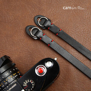 Leather-Camera-Strap-with-ring-connection-by-Cam-in-Black
