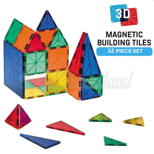 Kids Magnetic Tiles 3D Clear Colour Building Blocks Toy Construction Play 32PCS