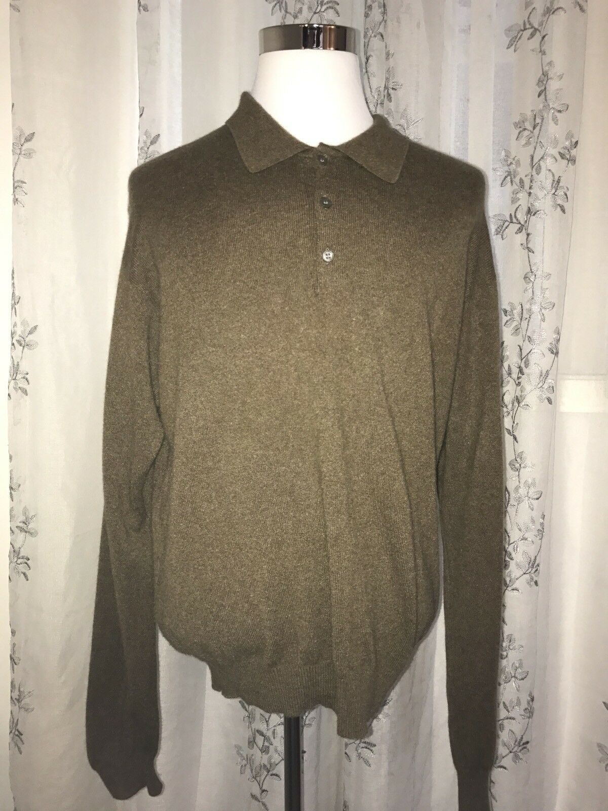 Macy's Club Room 2-Ply 100% Cashmere Heather Braun Polo Style Sweater Größe L
