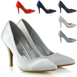 Chaussures Femme Talon Aiguille Satin Mi Talons Point Toe Femmes Soirée Mariage Escarpins Cour Chaussures-afficher Le Titre D'origine