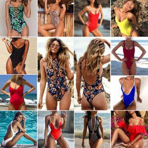 Sexy-Women-One-Piece-Monokini-Bikini-Floral-Push-Up-Padded-Bra-Swimsuit-Swimwear
