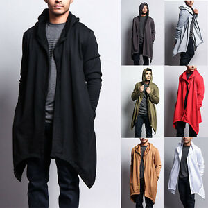 Victorious Men's Long Length Drape Cape Cardigan Hoodie Sweater ...