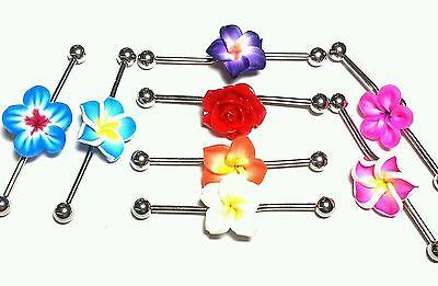 "Industrial Barbell Cartilage Jewelry Scaffolding 14g 1 1/2"" Bar Earring Flower"