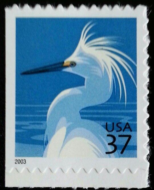 2003 37c Snowy Egret, Booklet Single Scott 3830 Mint F/
