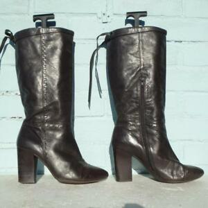 Bertie-Brown-Leather-Boots-Size-Uk-7-5-Eur-41-Womens-Ladies-Pull-on-Boots