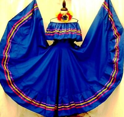 Mexican Super Wide Skirt Folklorico Dance Charreria All Colors//lengths 5 de Mayo