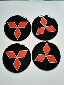 MITSUBISH 4 x 50 mm Silikon Emblem Felgen Aufkleber Logo Nabendeckel Nabenkappen