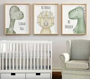 Dinosaur Print Set Dinosaur Nursery Childrens Bedroom Art Dinosaur Pictures Ebay