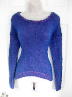 Bebe Purple Two Tone Feather Yarn Long Sleeve Hi Lo Sweater Small S