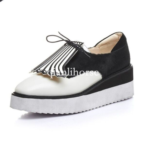 Mujer square toe lace up wedge heel platform creeper Zapatos Zapatos creeper horse hair tassel Nuevo 41ac1d